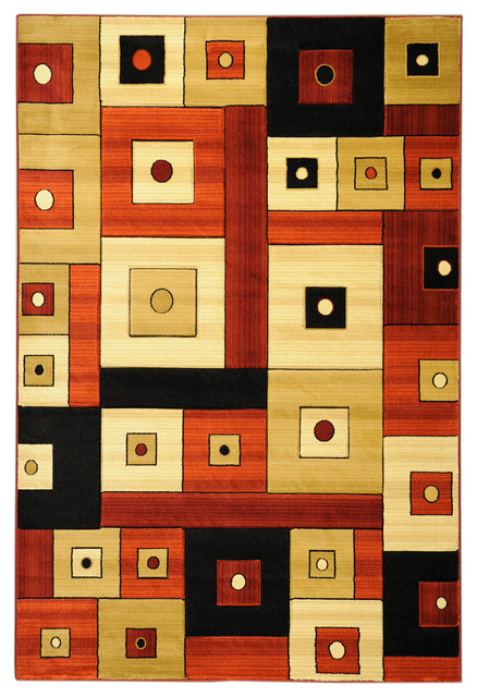 Multi-Color Contemporary Boxes Design Rug modern-rugs