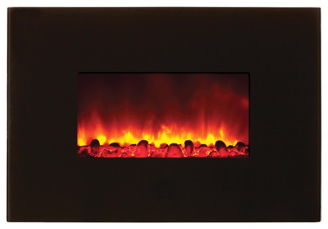"""38"""" Electric Fireplace - Black Glass contemporary-fireplaces"""