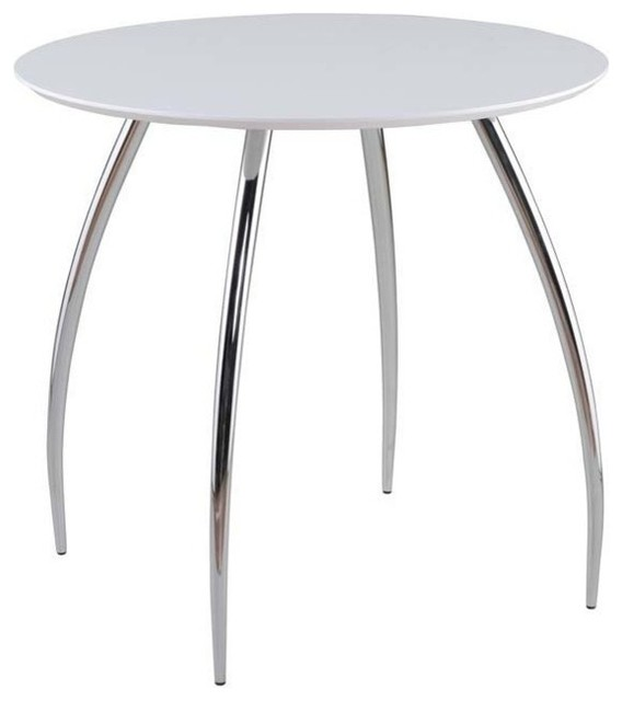 Inch Round Dining Table In White W Chromed Legs Modern Dining Tables