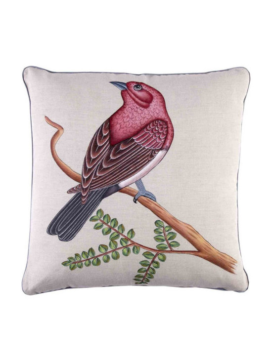 """John Robshaw - Finch Decorative Pillow design by John Robshaw. """"Each hand painted pillow is started on a blank cotton linen fabric with no tracing guides. Nandu, our most skilled painter in Jaipur spends a day & a half detailing each individual pillow. Note the fine details in the goose's feathers and the bejwelled hurda on the elephant's back. No two will be the same as sometimes Nandu adds a few more petals or lets the butterflies flutter more left and than right."""" - John Robsaw"""