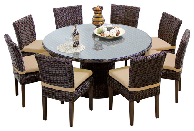 Rustico 60 Inch Outdoor Patio Dining Table With 8 Chairs