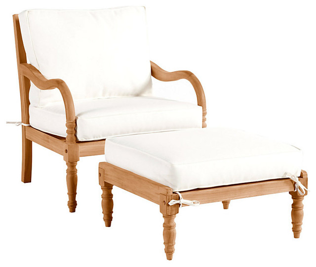 Ceylon Teak Lounge Chair & Ottoman Traditional Outdoor Chaise Lounges