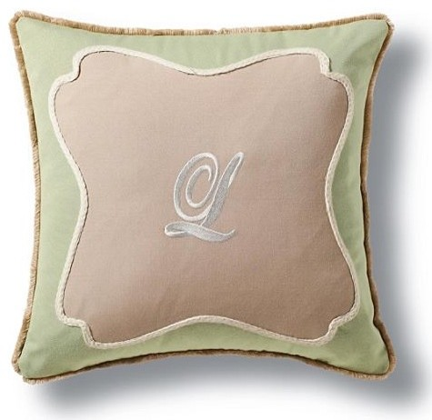 Scroll Frame Monogram Outdoor Pillow - Traditional - Outdoor Cushions And Pillows - by FRONTGATE