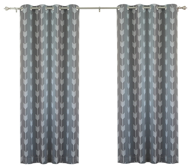 Arrow Curtains Arrow Print Room Darkening Grommet Top Curtain 84 Quot L 1  Pair Grey Contemporary
