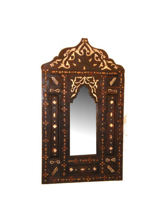 Middle Eastern Artisans - Moorish Walnut Mirror - Curved arches and intricate bone overlay details make this Moorish mirror the fairest of them all. Place it in a hallway or small nook in place of traditional art. Its dark wood and contrasting embellishments will always complement your reflection.