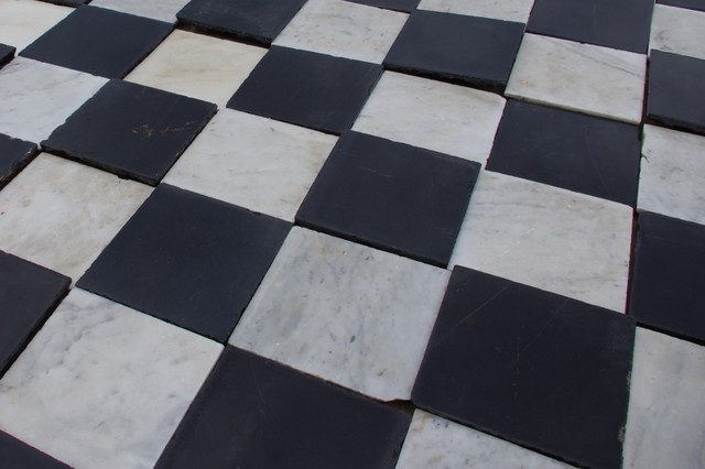 Black And White Marble Tile : Spanish monastery black and white marble eclectic wall
