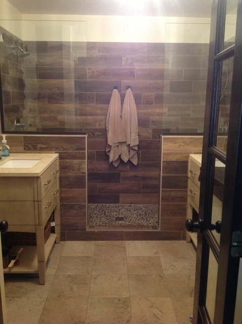 Natural theme master bath with wood grain look ceramic tile, double ...