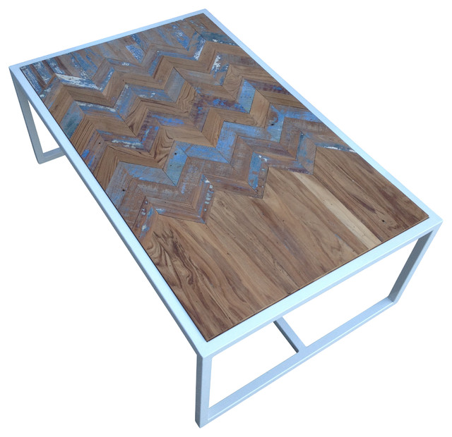 Metal Coffee Table With Teak Chevron Inlay Contemporary