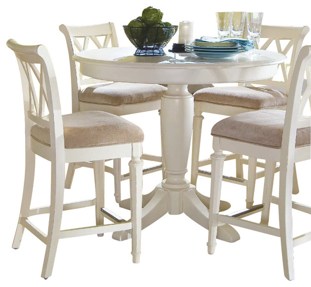 American Drew Camden Light 6 Piece Bar Height Ped Dining Room Set In White Pa