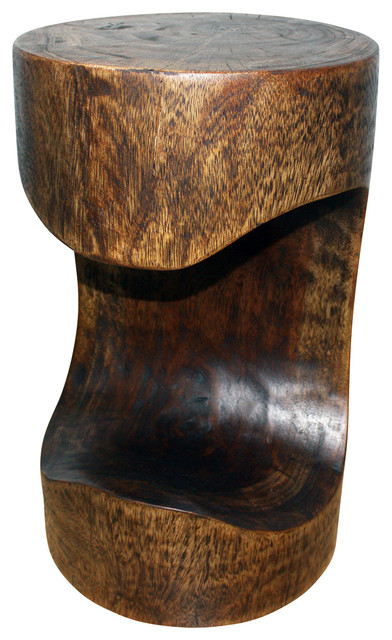 Bite Stool Sust Wood 12 x 12 x 20 inch Height w Eco Friendly Livos Mocha Oil Fin tropical-side-tables-and-end-tables