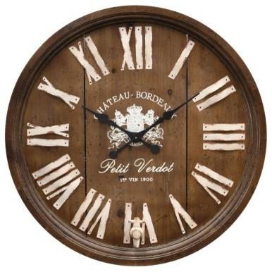 Wine Barrel Replica Wooden Wall Clock - 33 Diam. In. modern-clocks