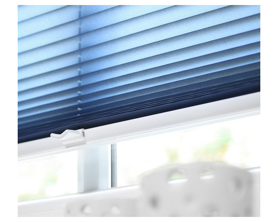 """Shade Systems by, Fenstermann - Contemporary pleated shades in blue. Stringless up to 5', Motorized, Sheer, Blackout or Translucent. Top/Down Bottom/Up with 400 different European fabrics. Also called """"plissee"""", these are made in Germany, exclusive to Fenstermann."""