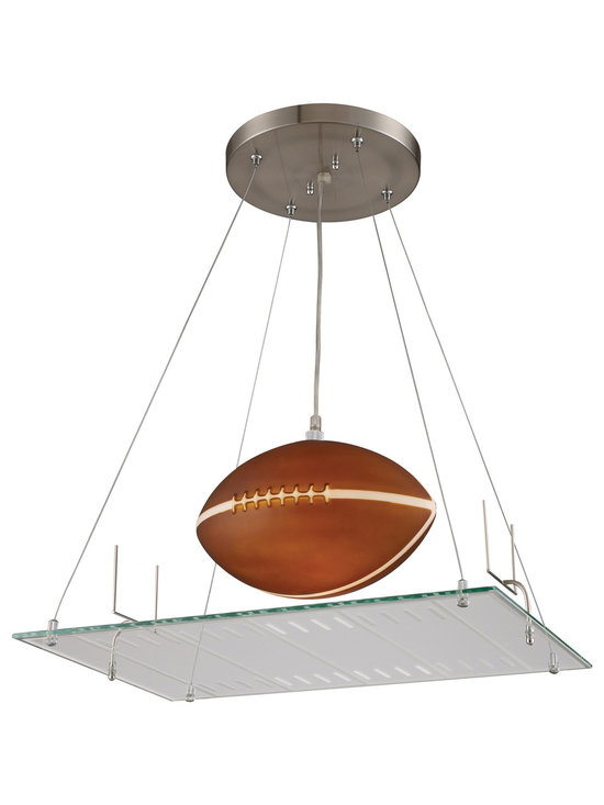 Football Field Pendant Light - Go for the end zone with the Football Field Pendant complete with yard lines, goal posts, and an illuminated football with a brown finish. This all-American novelty pendant light adds a unique and whimsical look to a child's bedroom or playroom. Includes 6 feet of cable.