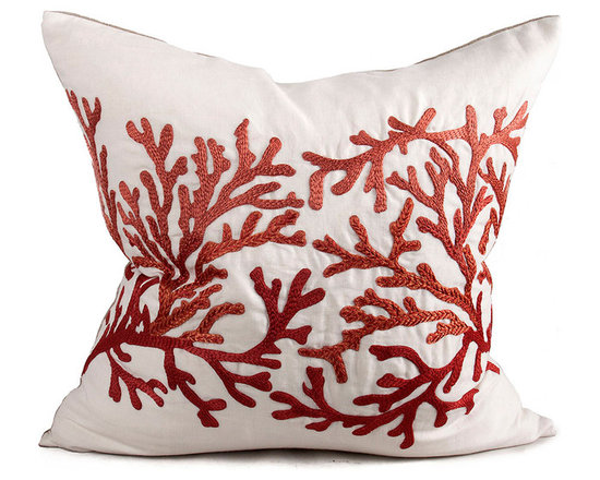 Kathy Kuo Home - Portland Coastal Beach Coral Square Pillow - Hand embroidered pillows in linen and silk are sumptuously oversized and generously filled with down and feathers - tossed on a bed or a gathered on a sofa, create a lasting personal touch.