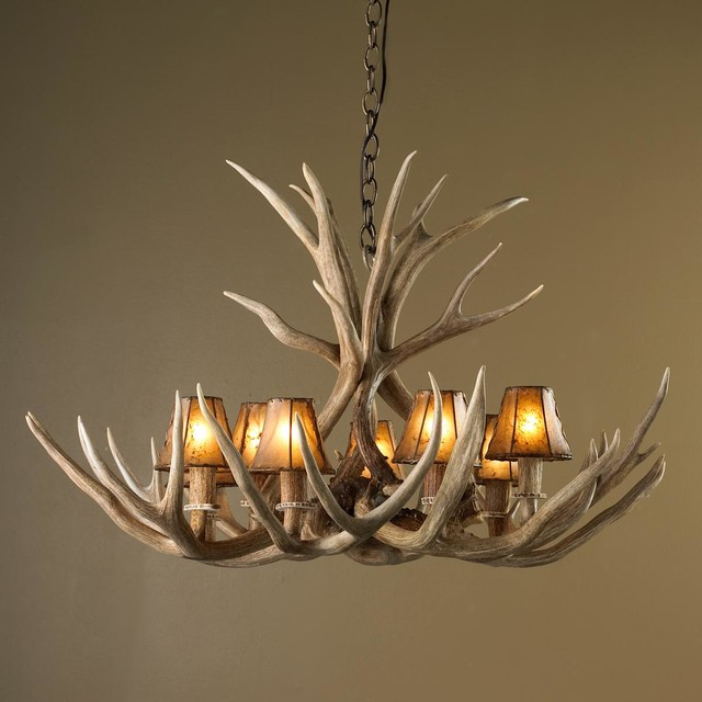 Authentic 8 Light Deer Antler Chandelier Chandeliers