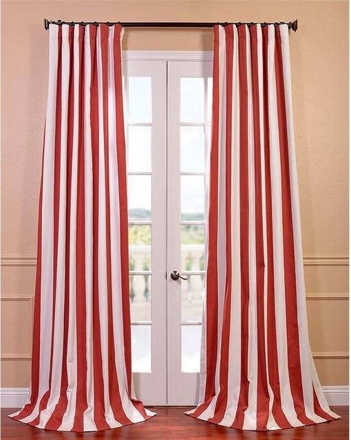 Cabana Spice Striped Cotton Curtain Panel Contemporary
