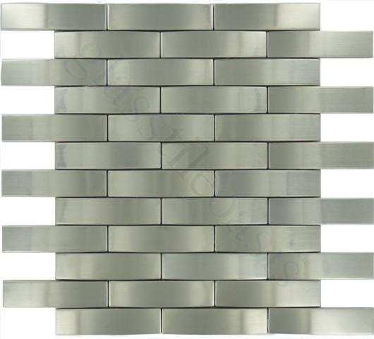 "Brushed Stainless Steel Backsplash: Weave 1"" X 4"" Stainless Steel Backsplash Brushed Metal"