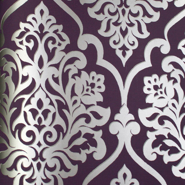 astek mood living nino silver and purple damask wallpaper
