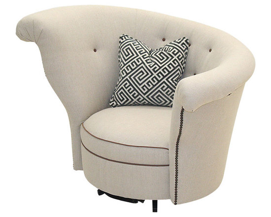 "Old Hickory Tannery - Peterson Right Swivel Chair - NATURAL - Old Hickory TanneryPeterson Right Swivel ChairDetailsEXCLUSIVELY OURS.Contemporary swivel chair.Hardwood frame.Linen upholstery.Contrasting buttons and welting.43""W x 31""D x 33""T; seat 21""D x 14""T.Made in the USA.Boxed weight approximately 80 lbs. Please note that this item may require additional shipping charges.Designer About Old Hickory TanneryFounded more than 30 years ago Old Hickory Tannery is still family owned and operated in Hickory North Carolina. Although the company's name reflects its original focus on fine leather upholstery Old Hickory is now equally well know for fabric-covered seating. Its range of styles is impressive from dramatic Duncan-Phyfe-style sofas to graceful Queen Anne armchairs claw-footed tub chairs feminine full-skirted settees and sleek slipper chairs. Old Hickory's craftsmen bring an abundance of expertise to their work; some have been making furniture for almost half a century. All upholstery is cut and sewn entirely by hand all frames are solid hardwood nailhead trim is hand-hammered and all springs are hand-tied to the frame and surrounding springs at eight points for lasting comfort and stability. These are just a few of the reasons why this American furniture maker is one of our favorites."
