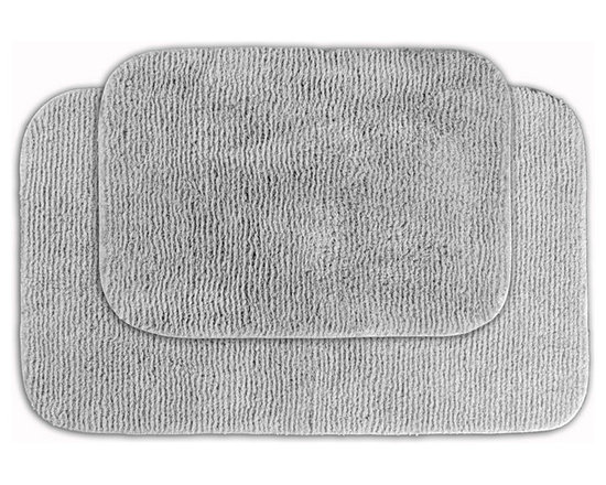 Sands Rug - Cheltenham Platinum Gray Washable Bath Rug (Set of 2) - Add a layer of plush comfort and safety with the inviting Cheltenham bath and spa rug collection. Each piece, whether a bath runner, bath mat or contoured rug, is created from soft, durable, machine-washable nylon. Each floor piece is backed with skid-resistant latex for safety.