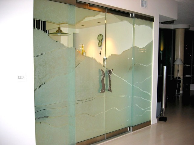 Glass Panels, Glass Doors, Sandblasted Glass - Contemporary - vancouver - by Niki Design & Glass ...
