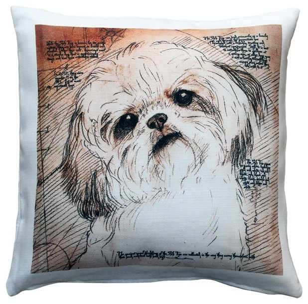 Leonardo s Dogs Shih Tzu Tilted Head Dog Pillow - Contemporary - Decorative Pillows - by Pillow ...