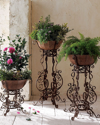 Tole & Iron Planter traditional-indoor-pots-and-planters