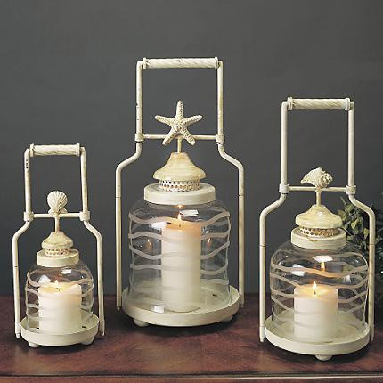 Frosted Globe Shell Lanterns tropical-candleholders
