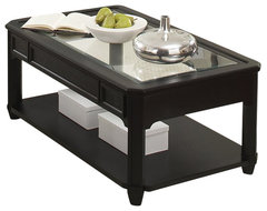 Riverside Furniture Farrington Glass Top Rectangular Cocktail Table in Black For transitional-coffee-tables