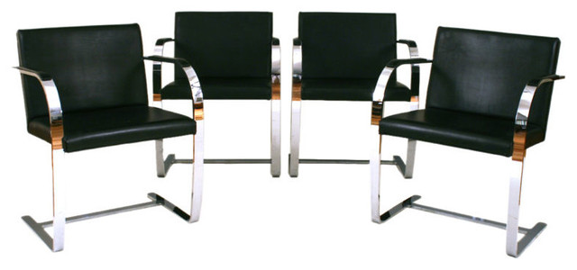 A Set of 4 French Modern Chrome and Leather Armchairs  dining chairs and benches