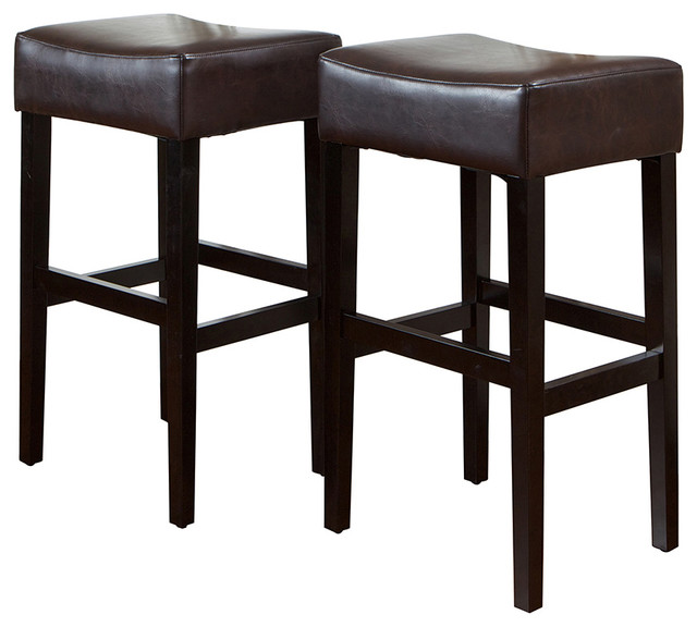 Duff Backless Brown Leather Bar Stools Set Of 2