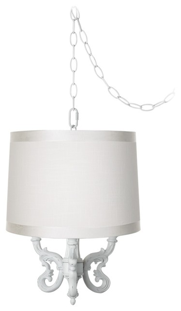 "Traditional Roco Off-White Drum Shade 14"" Wide Mini Swag Chandelier traditional-lamp-shades"