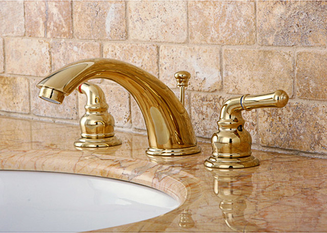 Widespread Polished Brass Faucet Contemporary Bathroom Faucets By Overs