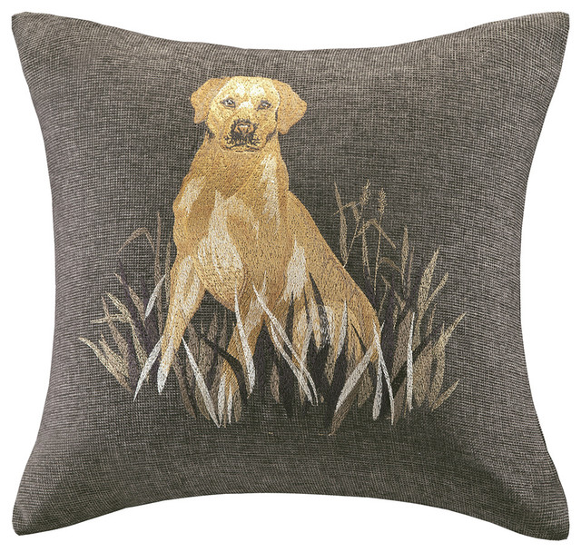 Decorative Dog Throw Pillows : Woolrich Oak Harbor Dog Embroidery 20-inch Throw Pillow - Contemporary - Decorative Pillows - by ...