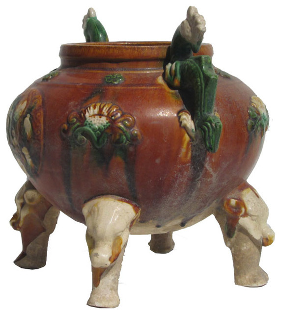 Unique Chinese Antique Clay Pottery Hand Made Pot Display - Asian - Indoor Pots And Planters ...