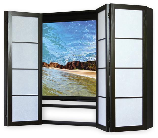 Contemporary Flat Screen Surround TV Cabinet, Espresso, Amber Rays - Contemporary - Storage ...