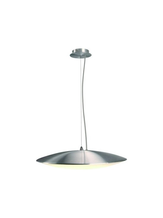 SLV Lighting - SLV Lighting | Elsu Pendant Light - Design by SLV Lighting.Like a futuristic UFO the Elsu Pendant Light beams down light from above. The aluminum top of the fixture directs light downwards through the glass diffuser giving off a soft glow. Elsu with its clean modern lines would be right at home over a table or in your entry way. Provides ambient and diffused light.