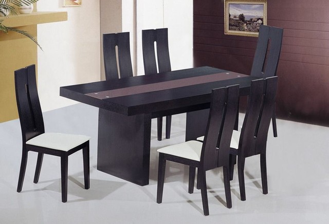 Unique Frosted Glass Top Modern Dinner Table Set - modern - dining ...