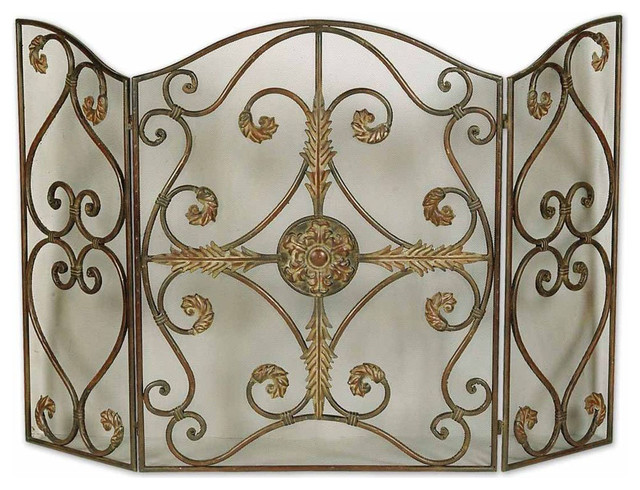 Jerrica Metal Fireplace Screen traditional-fireplace-accessories