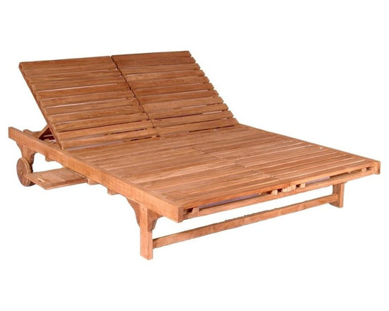 Anderson Teak - Bel-Air Double Sun Lounger Double Back - Unfinished - An open design provides space to share with a partner or room to spread out comfortably.  Double lounger is spacious and crafted in teak for many years of enjoyment.  Back is adjustable and pullout side trays are perfect for beverages and books. * Accommodates 2, side by side or opposing. Comes with a handy side tray which can be slide in-out from both side of the lounger or tucked away when not in use. Solid Teak wheels for maneuverability. Perfect for poolside reading in the sun. Teak wood construction. 79 in. L x 55 in. W x 13.5 in. H (154 lbs.)If your ultimate idea of relaxation is to be with your partner by the pool on a hot summer day - then the Bel-Air Double Lounger is for both of you. This double lounger accommodates two, side by side or opposing. Unlike others, you can lay down face-to-face chatting with your partner.