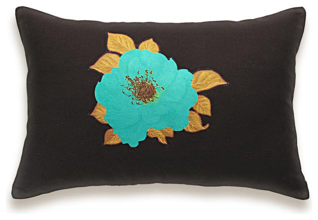Eclectic Pillow Cases : Aqua Brown Lumbar Pillow Case 12x18 PRINT DESIGN 26