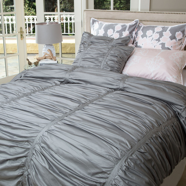 Twin Twin Xl Gray Ruched Duvet Set The Mirabel Gray