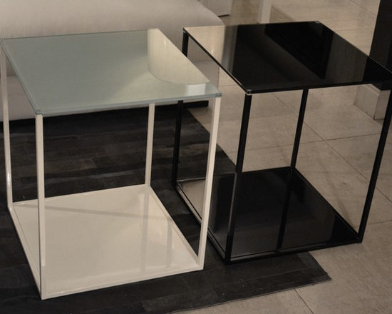 Showroom Pieces - White lacquer/glass & Black lacquer/glass side tables