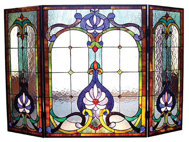 Victorian Stained Glass Fireplace Screen Contemporary Fireplace Accessories By