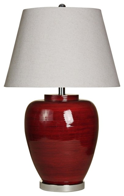 Transitional ruby red spun bamboo table lamp contemporary table lamps