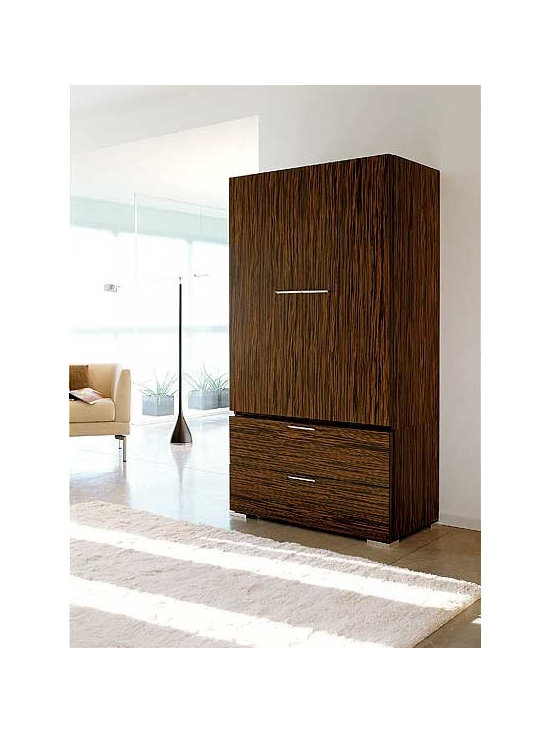 "Webb Armoire by Doimo - Behold the towering Webb Armoire. This is an armoire with an attitude. Crafted with artistic excellence and highly appreciable skill, the Webb Armoire is etched in magnificent wood with an eye for detail. The enchanting simple design, inspired from wild, romantic woods from the Italian countryside, is centered around the principle of ""duality."" The design focuses both on contemporary style as well as optimum utility in simple elegant ways."