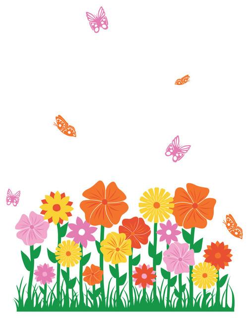Whimsical Flower Hedge Wall Decal modern-kids-wall-decor