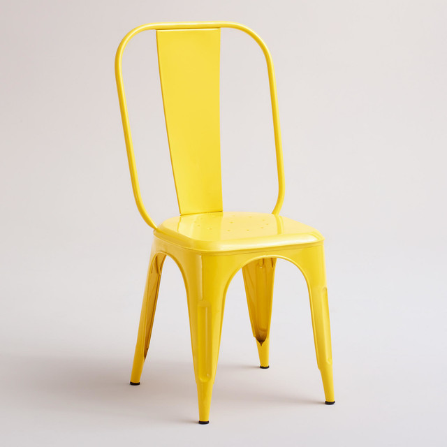 yellow cargo stacking chair industrial dining chairs by cost