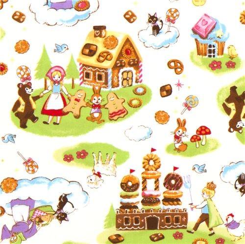 white fairy tale fabric with gingerbread house kawaii kids-decor