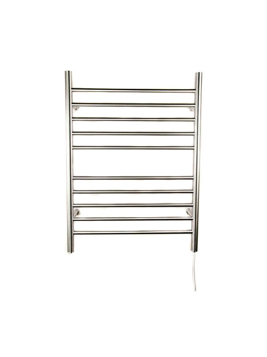 Hudson Reed - Hudson Reed Radiant Straight Plug In Heated Towel Rail 32 x 24 - The stylish and efficient Radiant plugin heated towel rail is a practical and good looking towel warmer and all-round heater for the bathroom, guest bathroom or kitchen. This towel radiator has a simple but attractive design comprising of ten straight horizontal bars flanked by two vertical bars, all of which heat up to an output of 512 BTUs per hour.The Radiant towel warmer couldn't be simpler to use; simply fit to the wall and plug-in to enjoy a luxurious level of warmth throughout the room and warm, dry bath and hand towels, whenever  you want.This 32 x 24 towel rail has a versatile aesthetic which makes a beautiful accessory for both modern and traditional bathroom suites and kitchens. Choose from a brushed chrome or polished chrome finish to suit your interior and create the perfect impression. Amba Radiant Straight Plug In Heated Towel Rail 32 x 24 Details  Dimensions: (H x W x D) 32 (813mm) x 24 (610mm) x 5 (127mm) Output: 150 Watts Amps: 1.30 Voltage: 110-120 (50/60 Hz) 10 straight horizontal bars All bars heat up, vertical and horizontal Easy installation, then plug-in Built-in On/Off switch Heats fast: no liquid Concealed wiring to wall Manufactured from high quality, 304 stainless steel Minimal power consumption: equivalent to a couple of light bulbs UL Certification (for Canada and the USA) 2 year limited warranty 7-day, 24-hour programmable timer available (ATW-TW24)  Please note: there is a 10 day lead time for the delivery of this towel warmer.